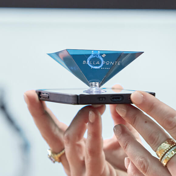 View your ring design on your phone with a hologram viewer phone attachment