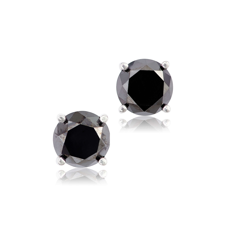 Black Diamond Earrings 14k 1 Ctw
