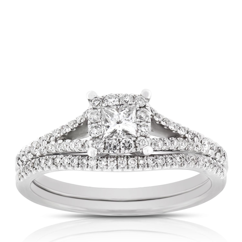 Princess Cut Halo Diamond Bridal Set 14k Ben Bridge Jeweler
