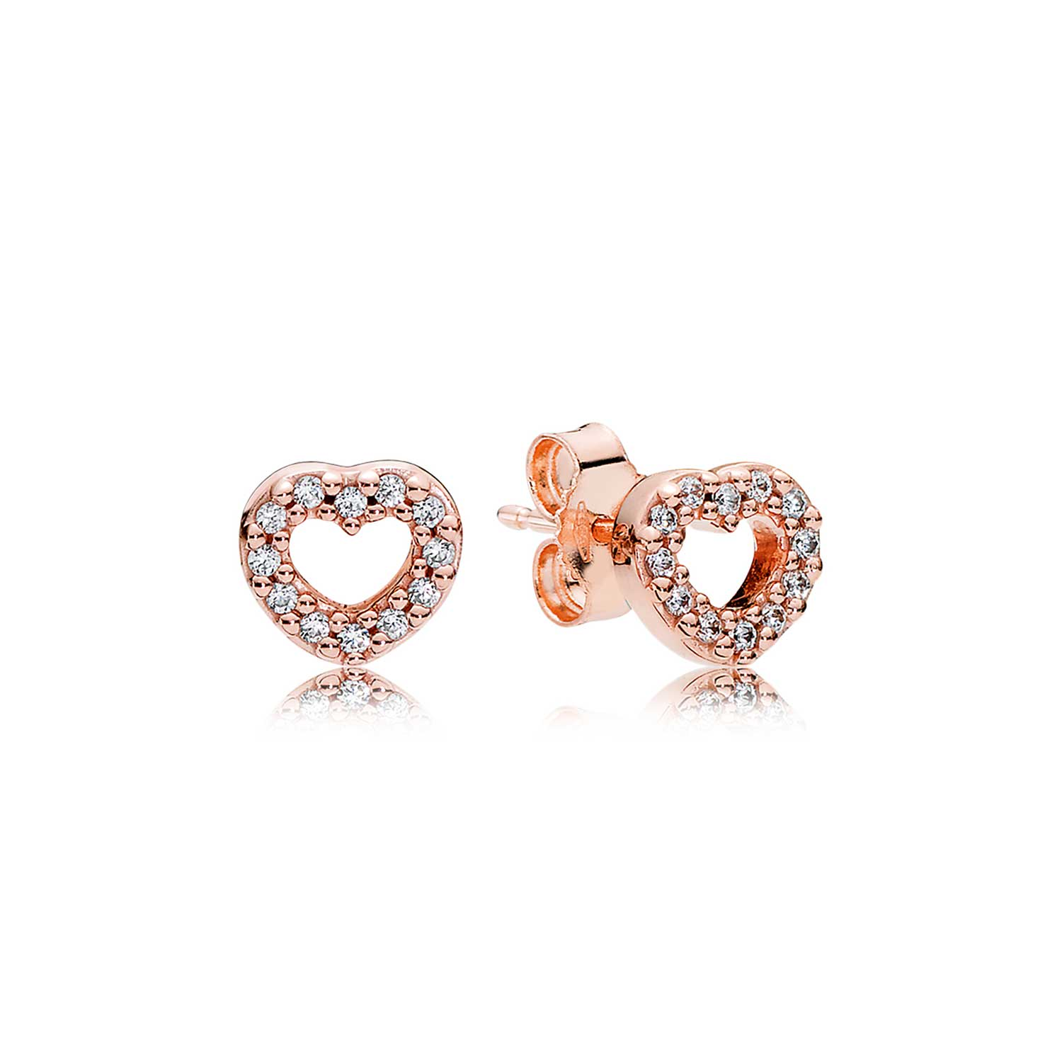 Images Pandora Rose Captured Hearts Cz Earrings