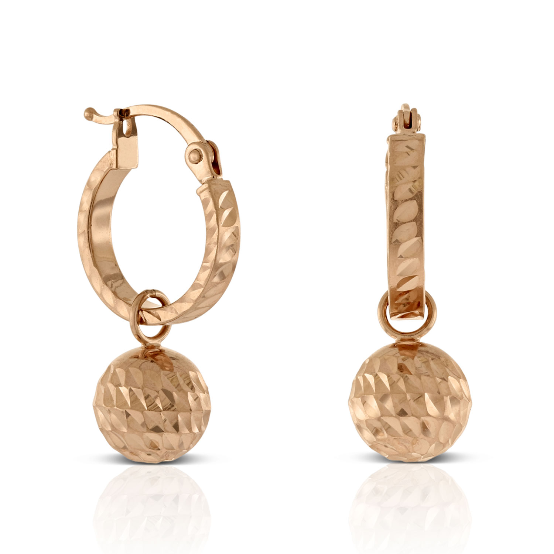 Rose Gold Diamond Cut Ball Drop Huggie Earrings 14k Ben Bridge Jeweler