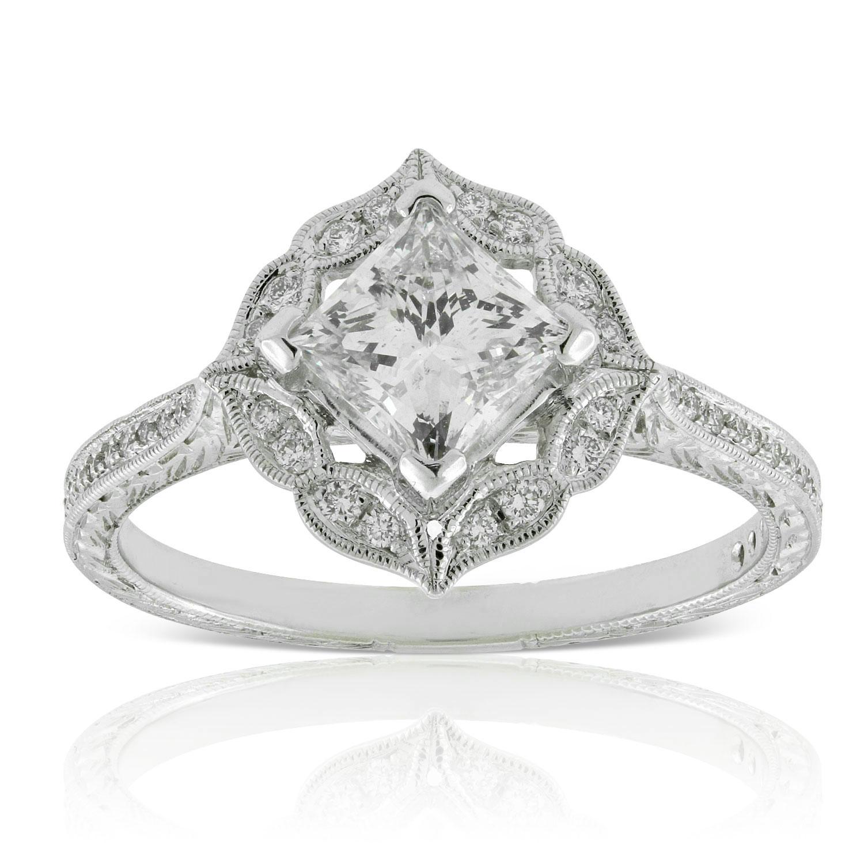 Princess Cut Halo Diamond Engagement Ring 14k Ben Bridge Jeweler