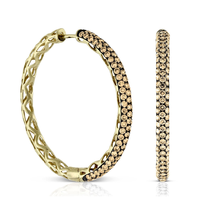 Brown Diamond Hoop Earrings 14k 3 60 Ctw