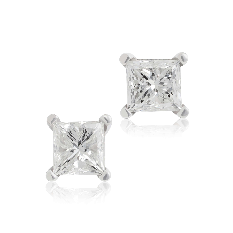 Princess Cut Diamond Earrings 14k 1 Ctw