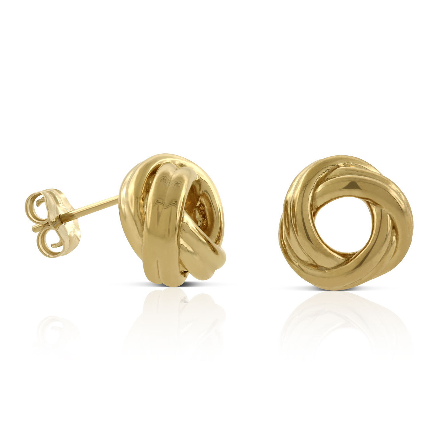 Real 14kt Yellow Gold Polished /& Twisted Love Knot Post Earrings