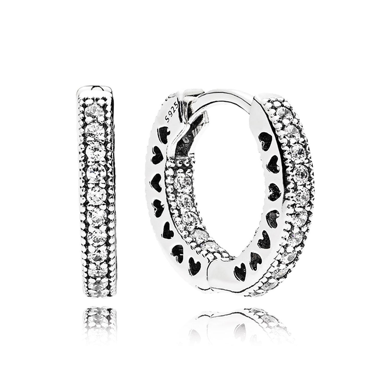 Pandora Hoop Earrings: PANDORA Hearts Of PANDORA CZ Hoop Earrings 15 MM