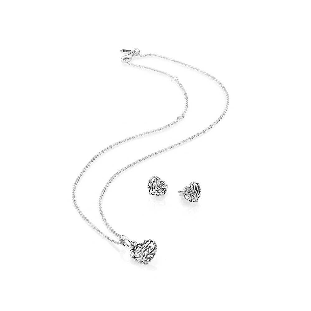 Pandora Flourishing Heart Necklace Amp Earring Gift Set