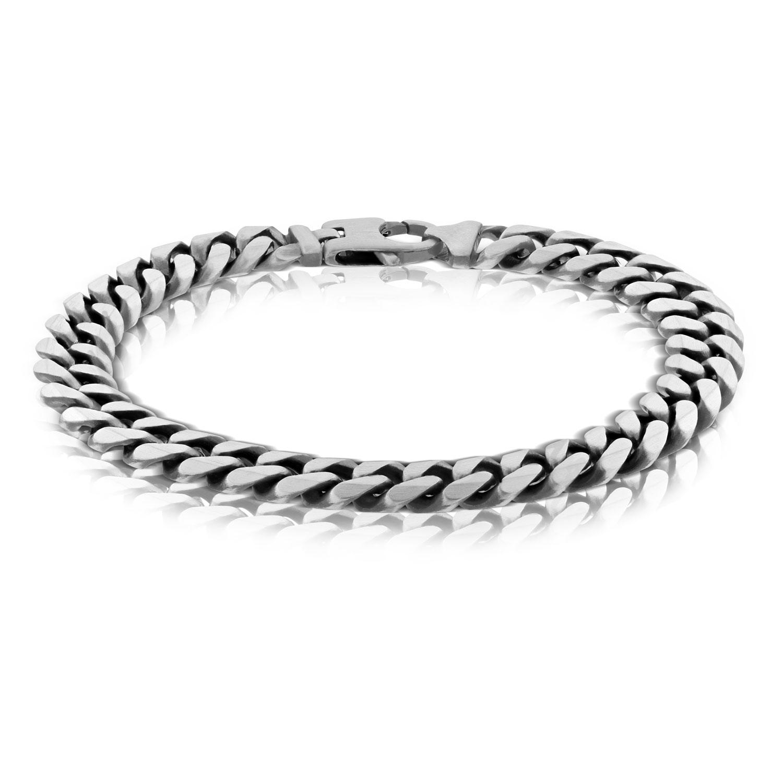 Men\u2019s Silver cz curb bracelet.