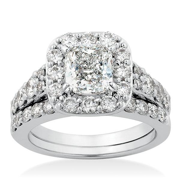 Images Cushion Cut Diamond Bridal Set 14k