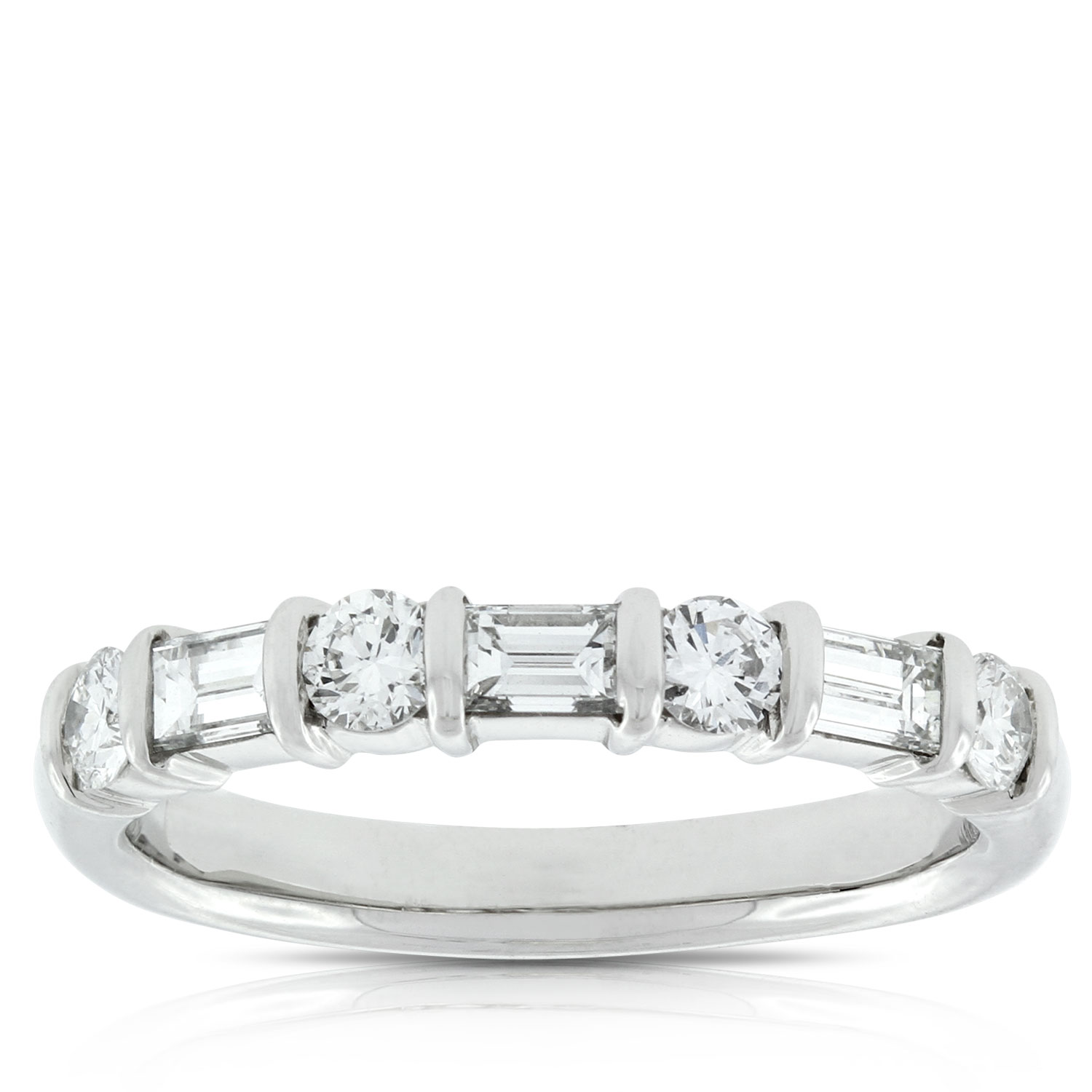 in gold diamond stone rings white band tw baguette wedding