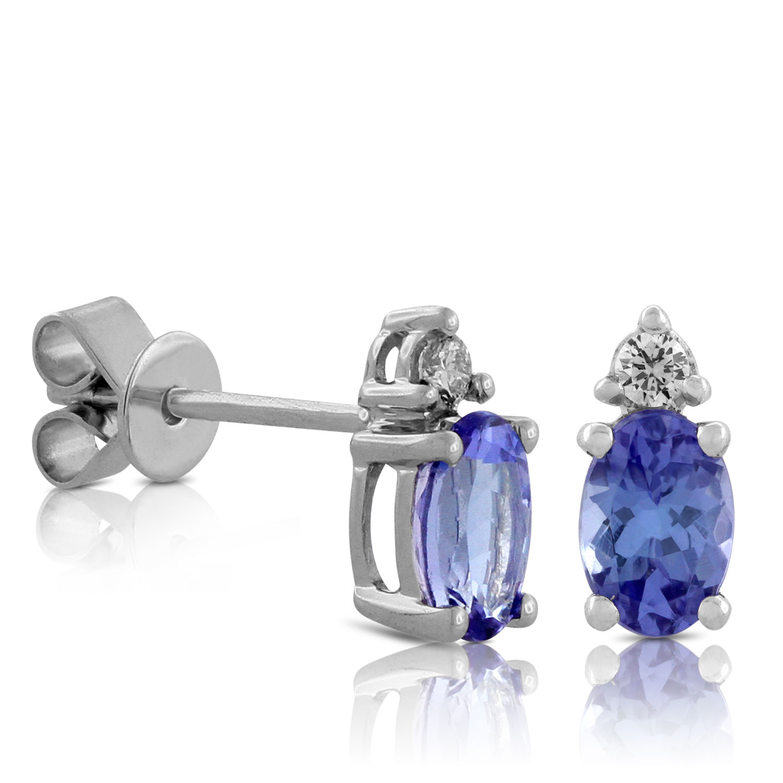 Tanzanite Diamond Earrings 14k