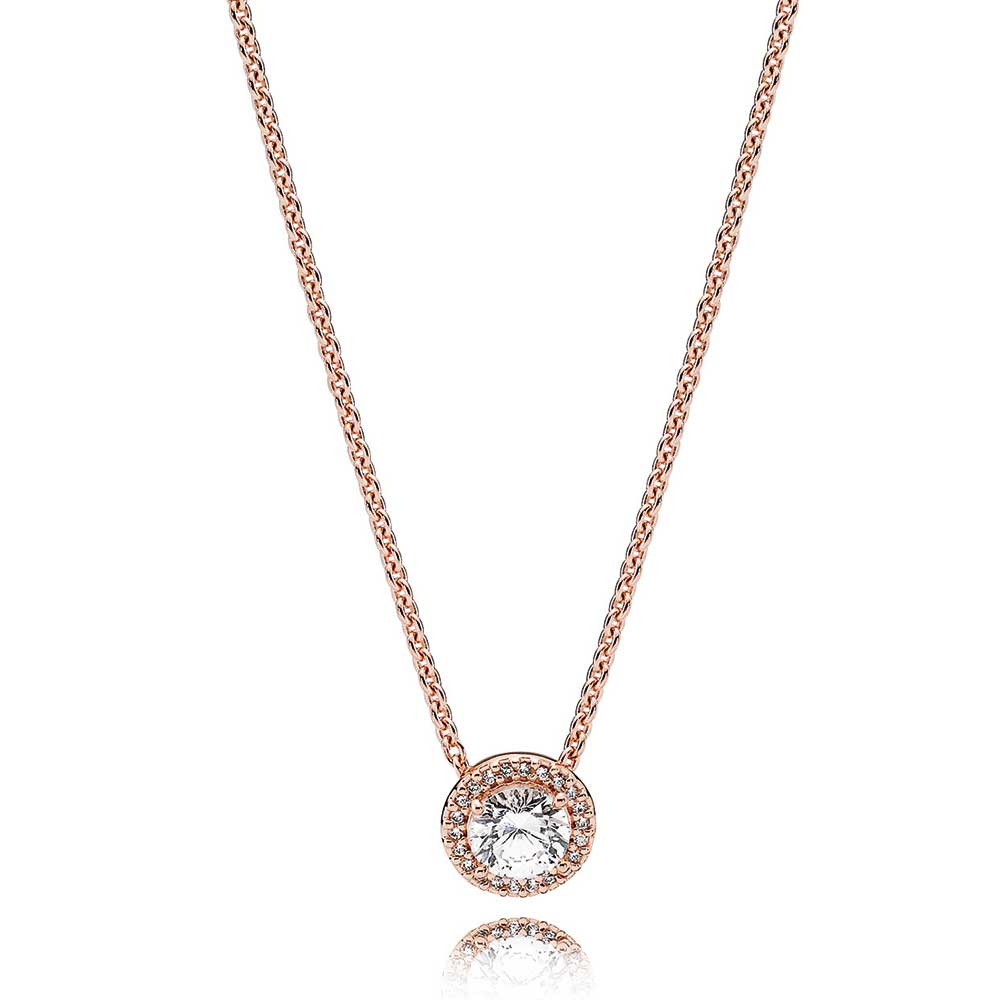 Pandora Rose Classic Elegance Cz Necklace 386240cz 45