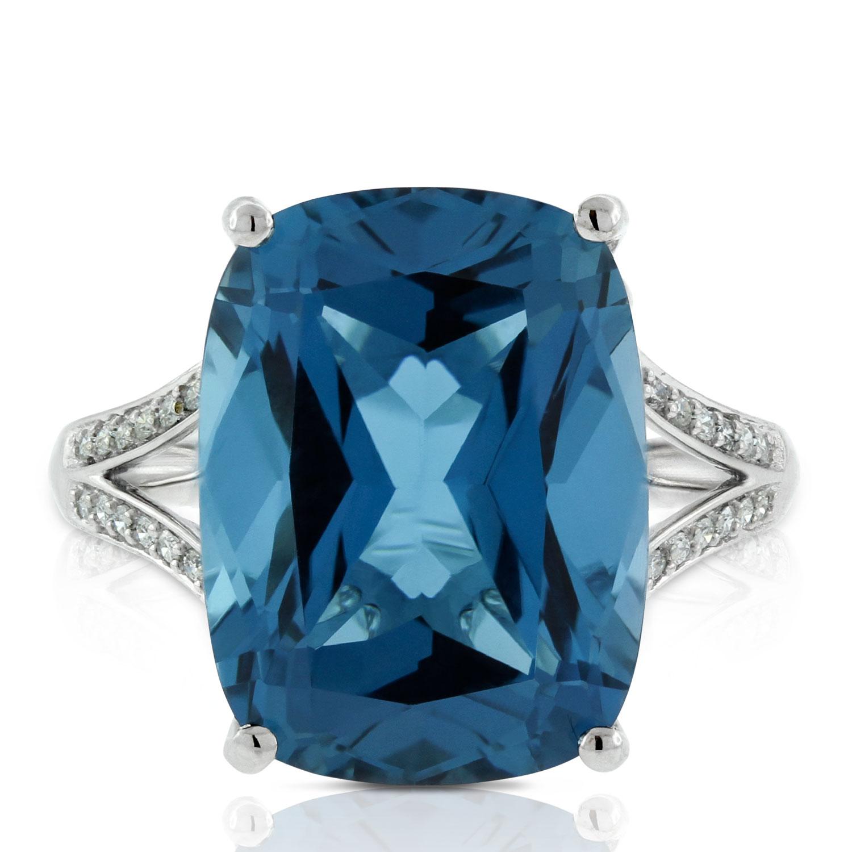Cushion Blue Topaz Amp Diamond Ring In White Gold 14k Ben