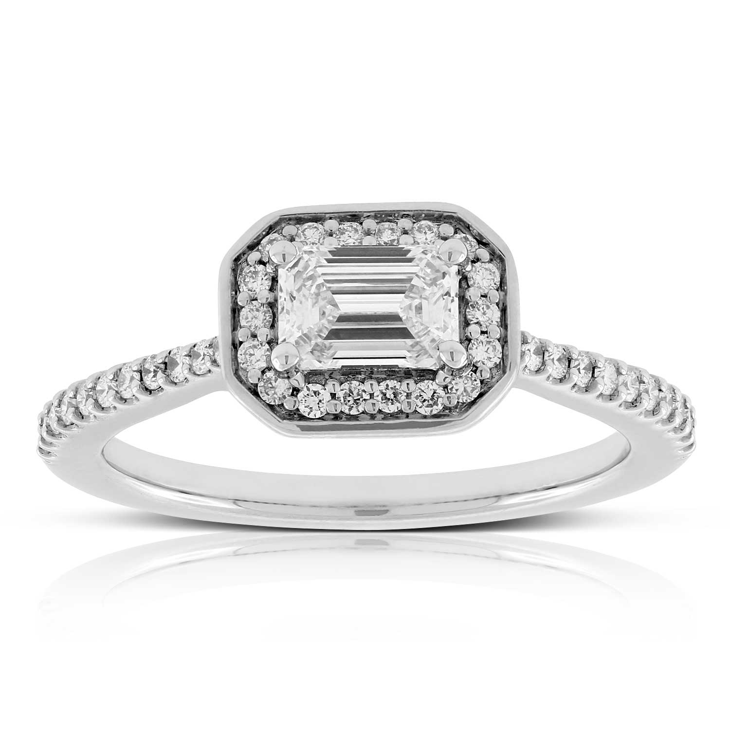 cut profile platinum infinity side shank rings ring certified diamond standing preset gia carat in emerald pave halo engagement with g
