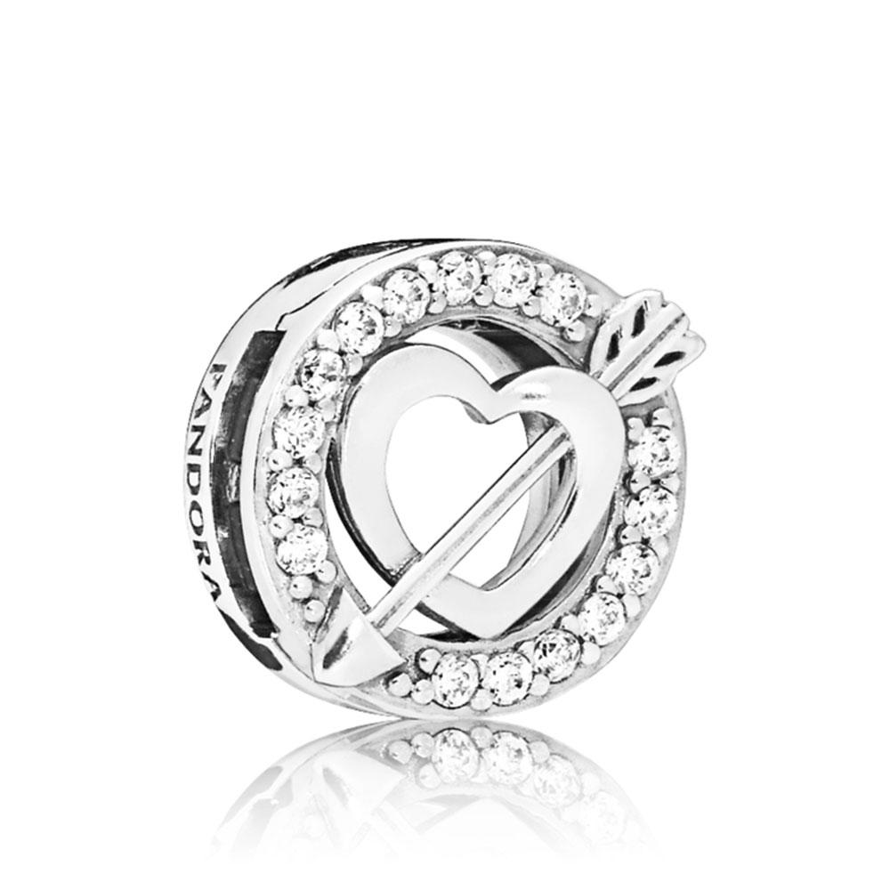 Pandora Reflexions™ Asymmetric Hearts & Arrow CZ Clip Charm