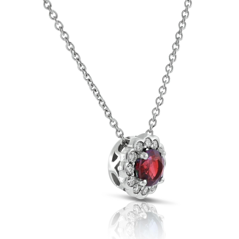 Ruby diamond halo pendant 14k ben bridge jeweler ruby diamond halo pendant aloadofball Choice Image
