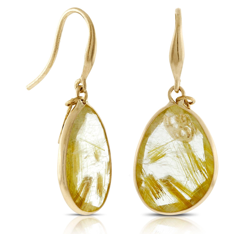 Lisa Bridge Golden Rutilated Quartz Earrings 14k