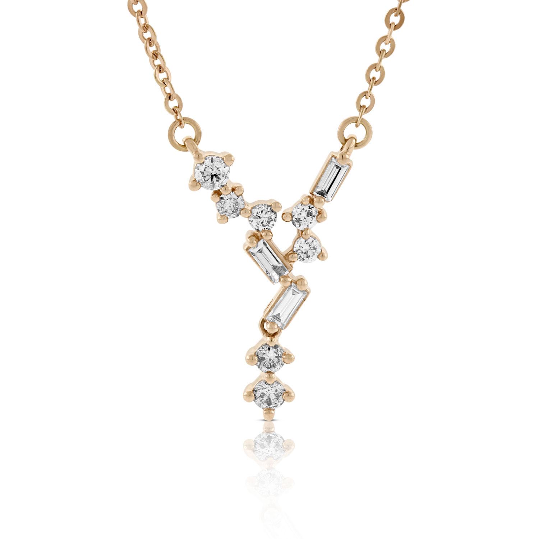 Rose Gold Scattered V Baguette Round Diamond Necklace 14k Ben Bridge Jeweler