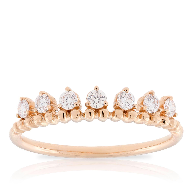 f381b7fbb9b63 Rose Gold Beaded Stackable Diamond Band 14K