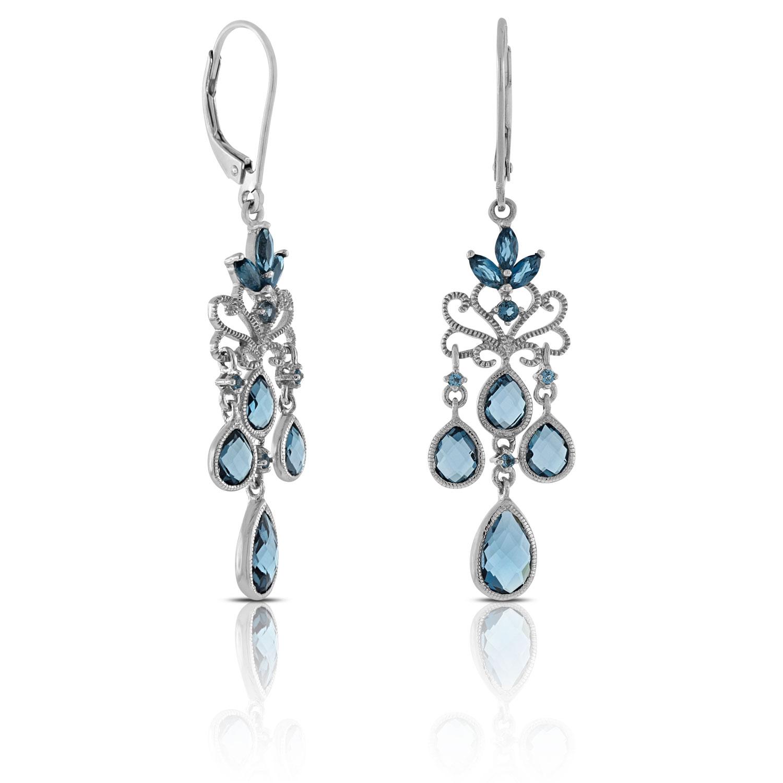 Mixed cut blue topaz chandelier earrings 14k ben bridge jeweler mixed cut blue topaz chandelier earrings 14k mozeypictures Gallery