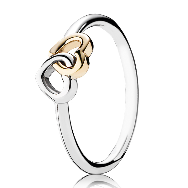 Fabulous PANDORA Heart to Heart Ring, Sterling Silver & 14K - null | Ben  ST65