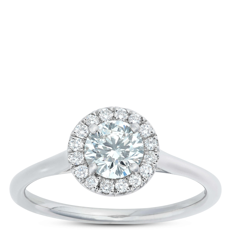 84fabd87ba707 Signature Forevermark Diamond Halo Ring 18K