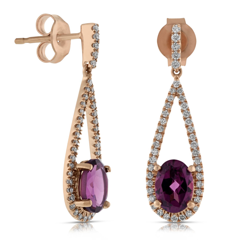 Rose Gold Rhodolite Garnet Diamond Earrings