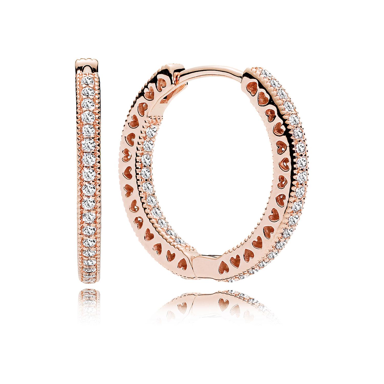 Pandora Hoop Earrings: PANDORA Rose™ Hearts Of PANDORA CZ Hoop Earrings, 20 Mm