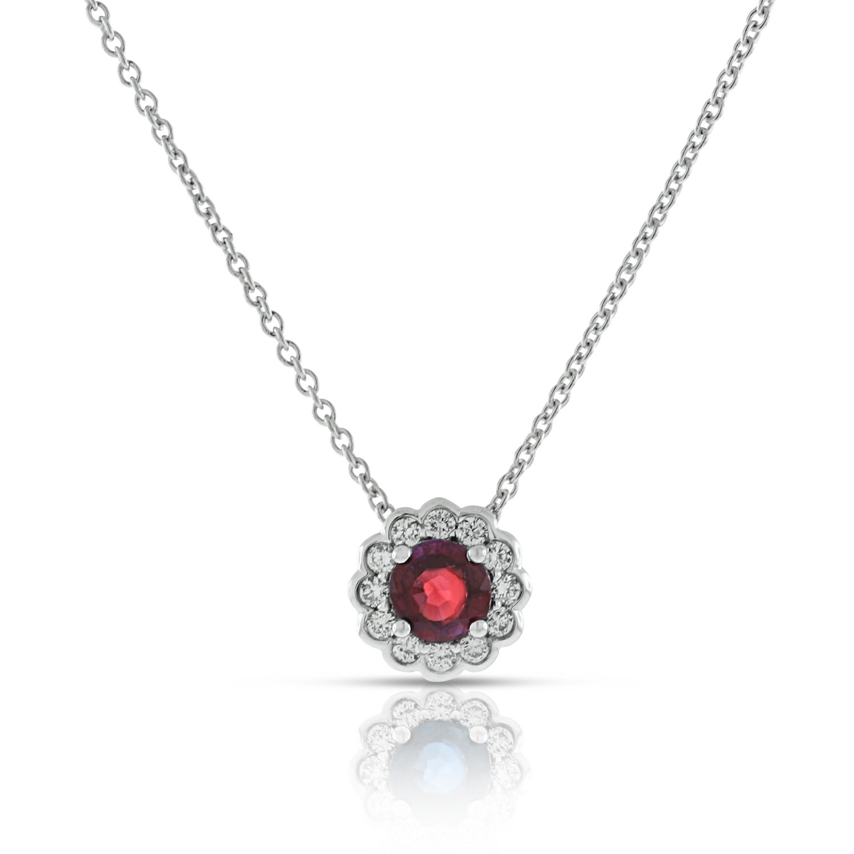 Ruby diamond halo pendant 14k ben bridge jeweler ruby diamond halo pendant aloadofball Image collections