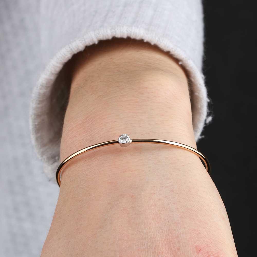 Rose Amp White Gold Diamond Bangle Bracelet 18k Ben Bridge