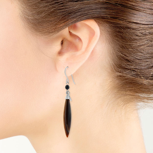 Lisa Bridge Tiger S Eye Black Onyx Dangle Earrings