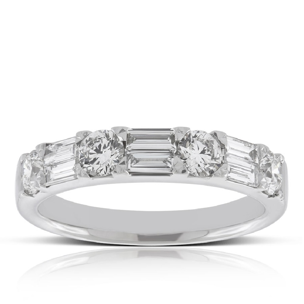 9ct Yellow Gold Baguette Cut Diamond Wedding Ring | Smooch