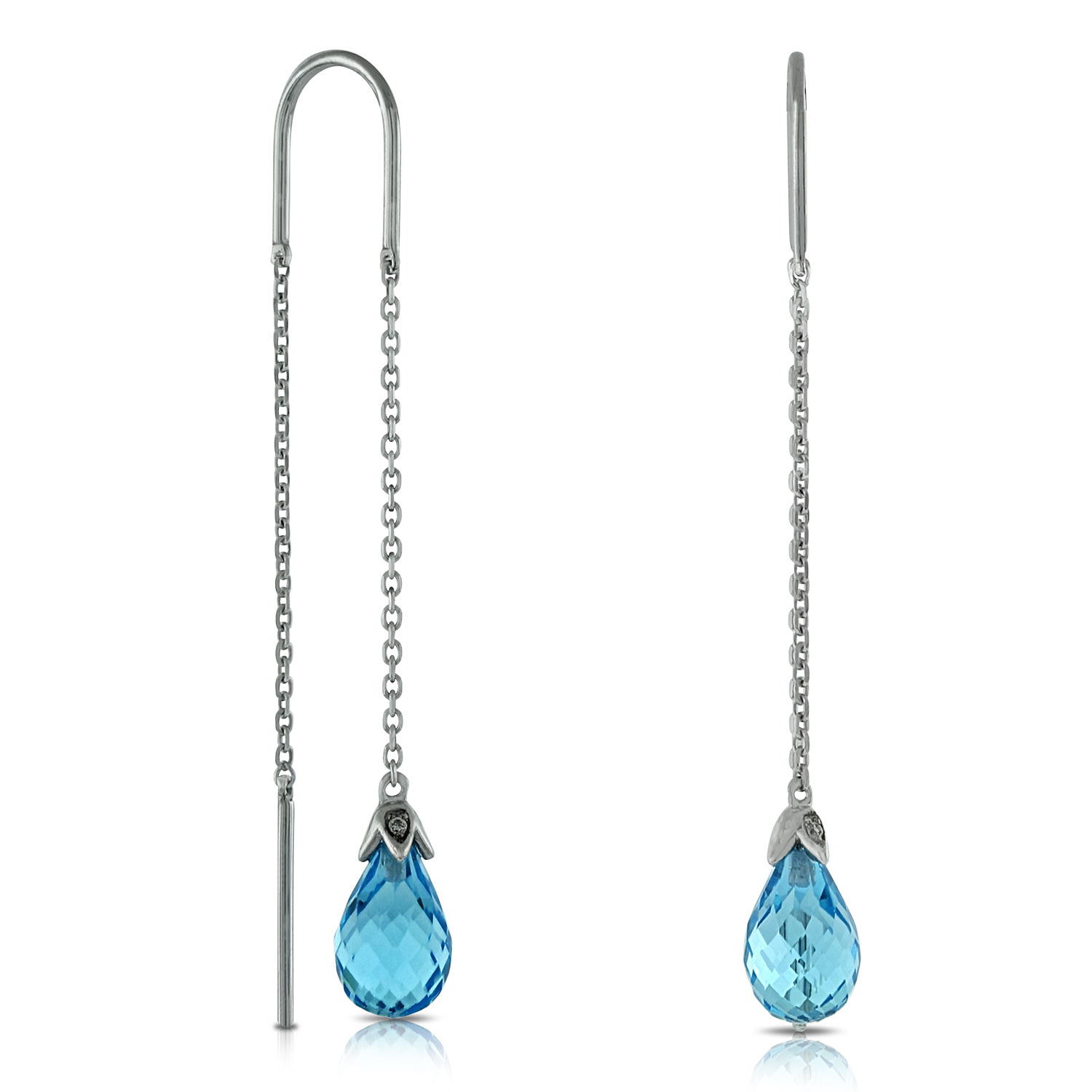 Blue Topaz Diamond Threader Earrings