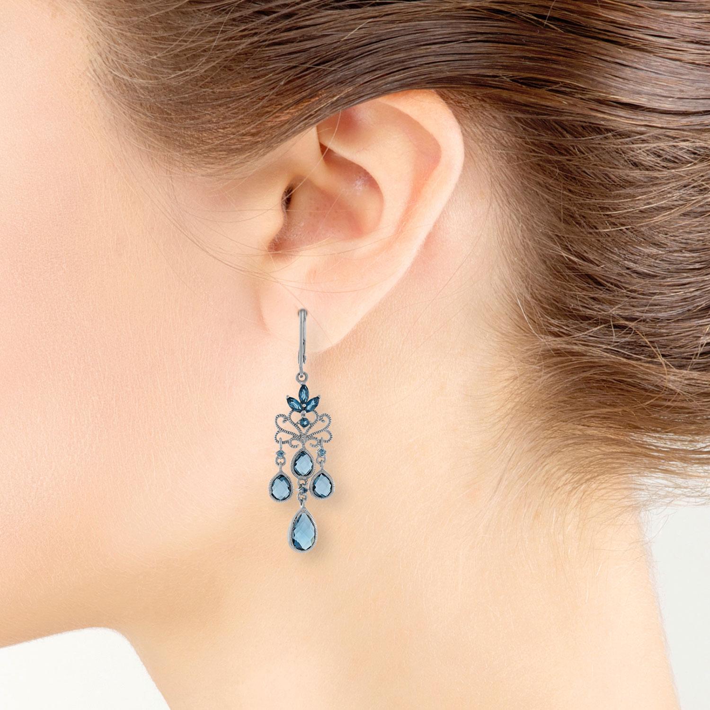 Mixed cut blue topaz chandelier earrings 14k ben bridge jeweler mixed cut blue topaz chandelier earrings 14k aloadofball Image collections