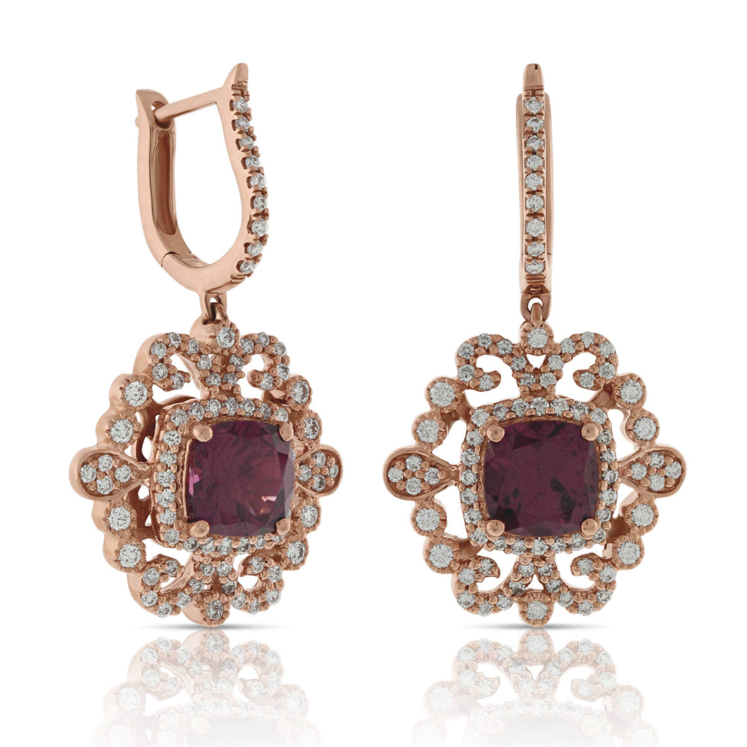 Rose Gold Rhodolite Garnet Diamond Earrings