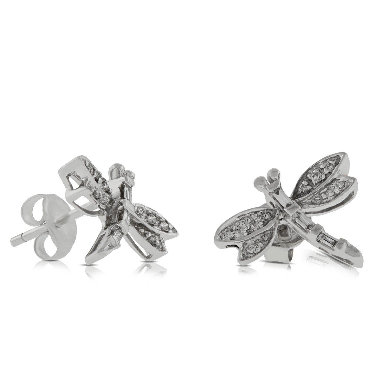 Dragonfly Diamond Earrings 14k