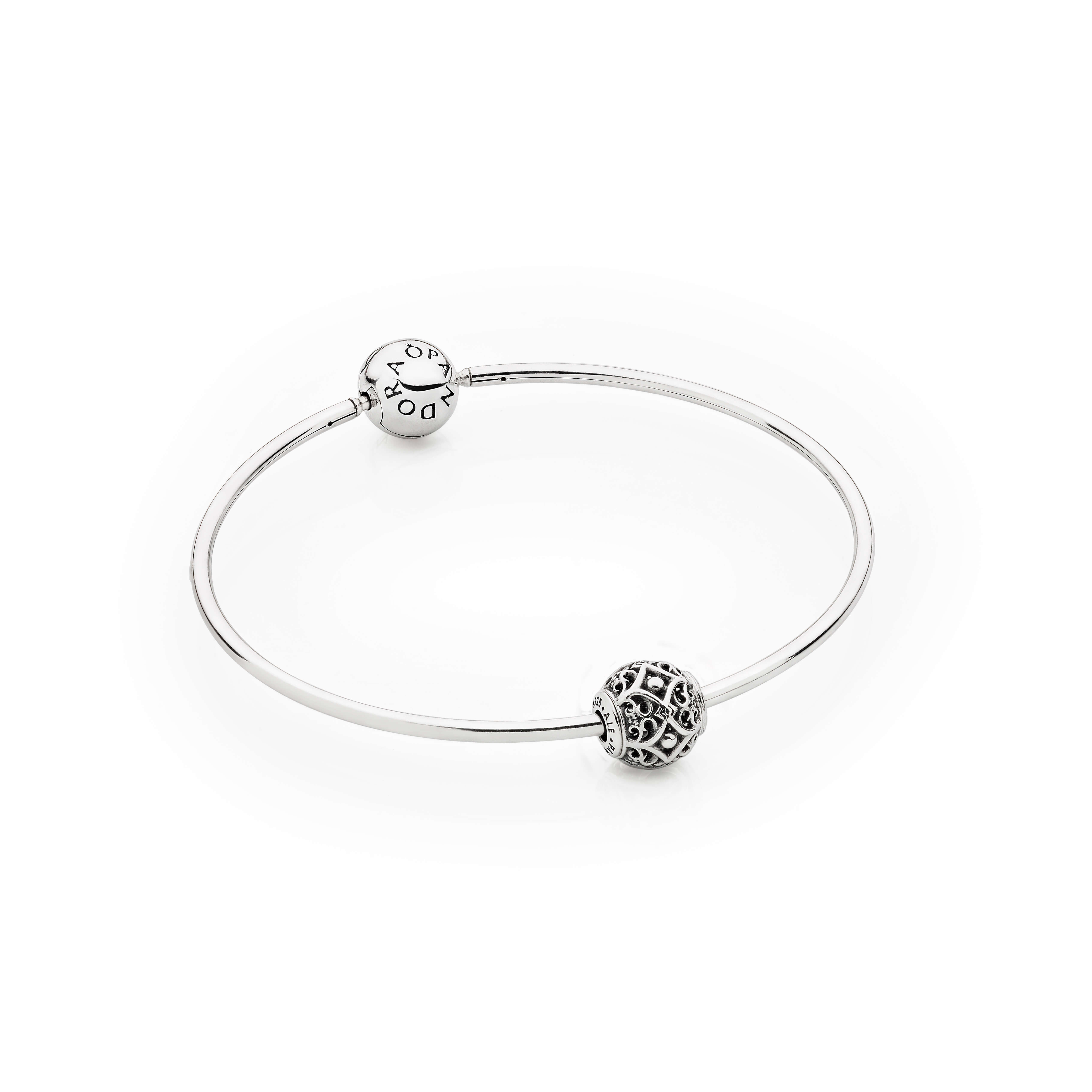 Pandora essence bangle bracelet with affection charm for How much does pandora jewelry pay