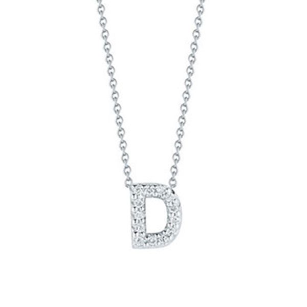 Roberto coin diamond initial pendant 18k letter d 001634awchxd roberto coin diamond initial pendant 18k letter d aloadofball Image collections