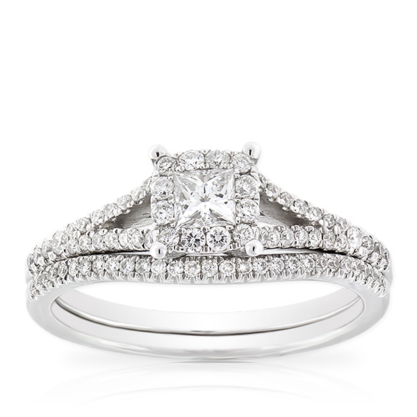 Princess Cut Halo Diamond Bridal Set 14K | Ben Bridge Jeweler