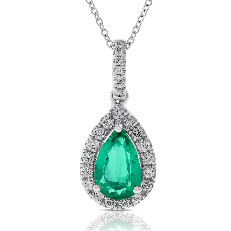 Handmade Jewelry Pendant,925 Sterling silver Diamond and gemstone 22mmx10mm GP012 1 Pc  Diamond Emerald With pear  Pendant