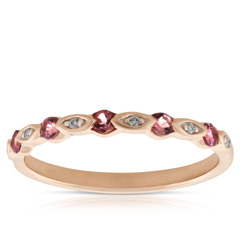 Pink Gold Diamond Bands: Rose Gold Pink Tourmaline & Diamond Band 14K