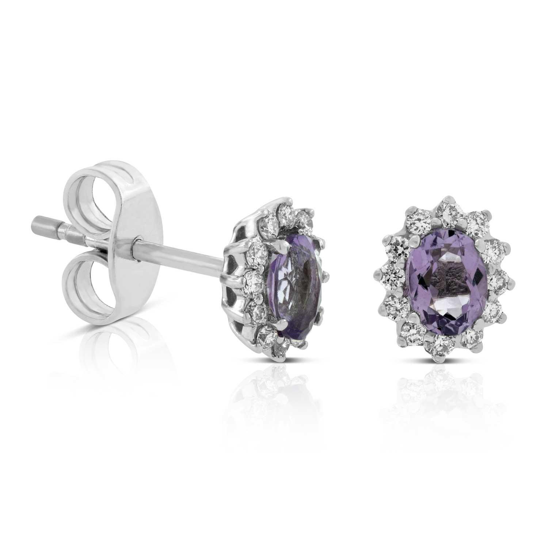 Amethyst Diamond Halo Stud Earrings