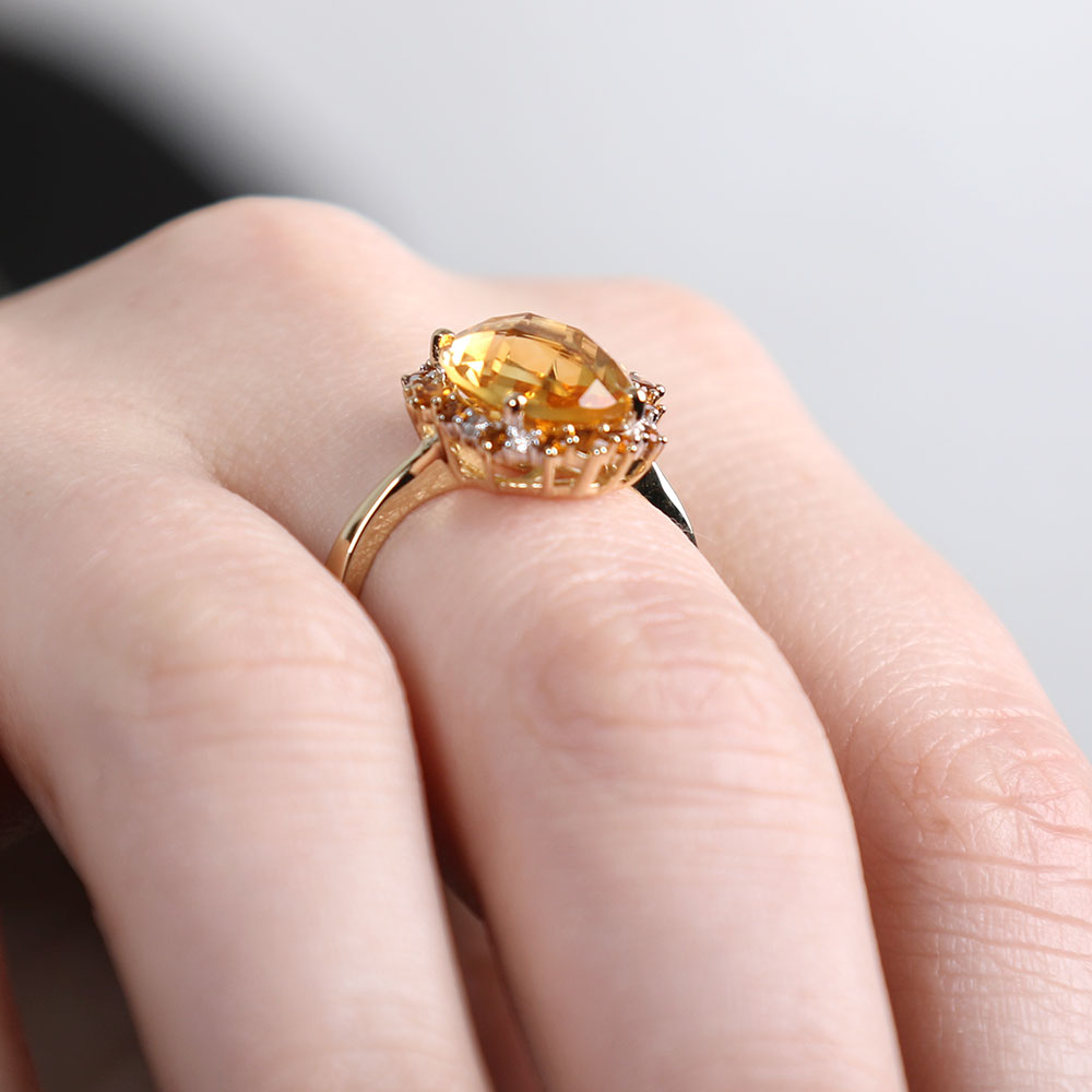 Oval Citrine & Diamond Ring 14K | Ben Bridge Jeweler