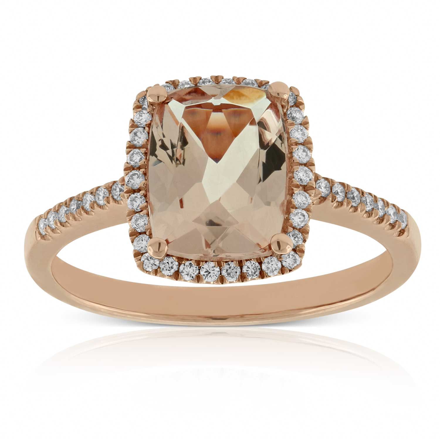 unforgettable jewellery products morganite rose ring diamond gold and