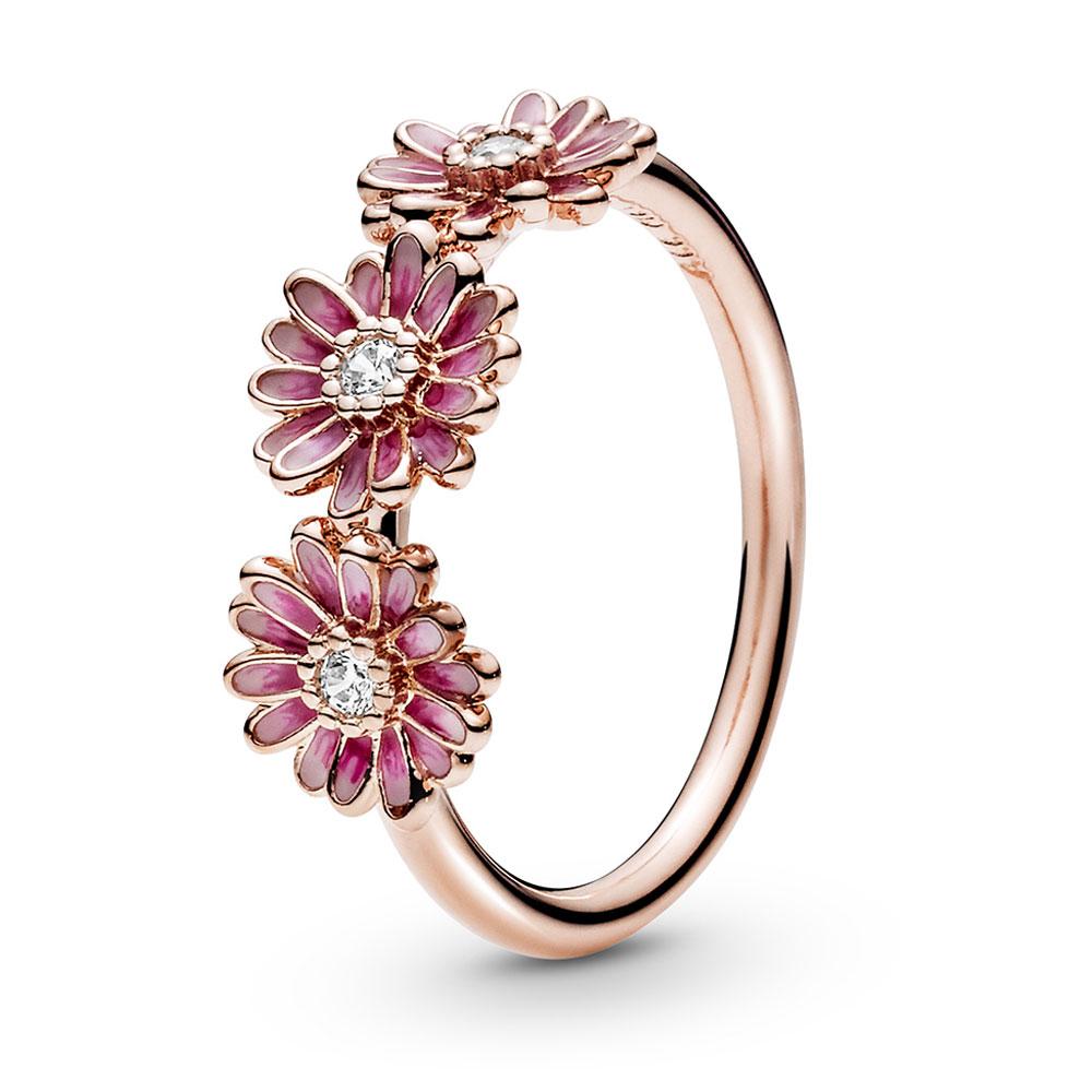 Pandora Rose™ Pink Daisy Flower Enamel Trio Ring - 188792C01   Ben Bridge Jeweler