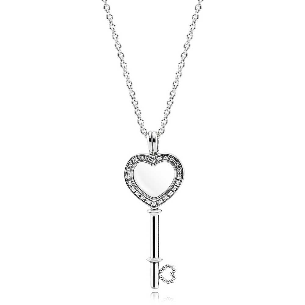 Pandora Floating Locket Cz Heart Key Necklace 396581cz