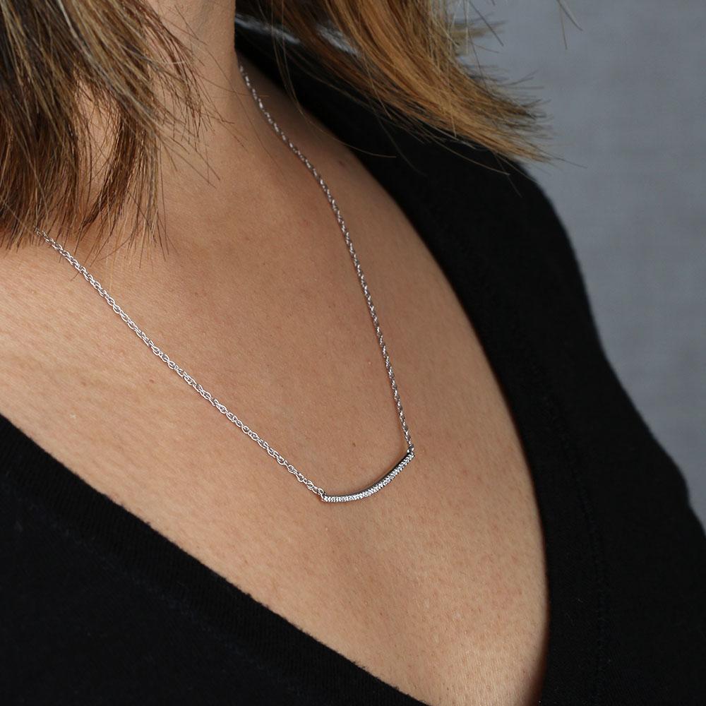Curved Diamond Bar Necklace 14k Ben Bridge Jeweler