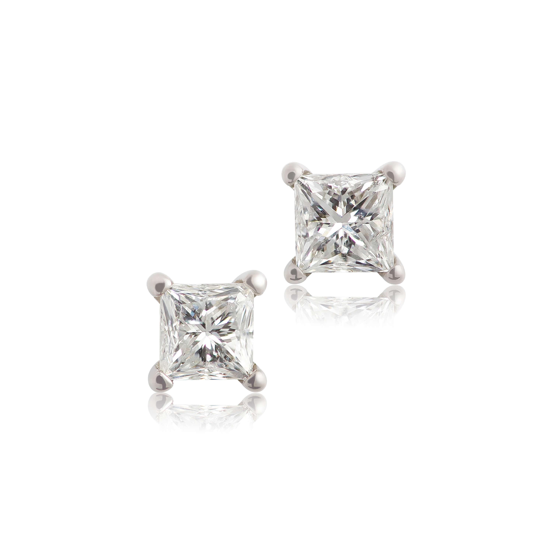 Princess Cut Diamond Earrings 14k 1 2 Ctw