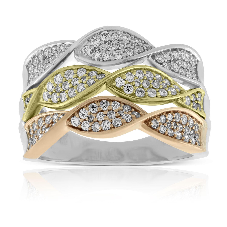 Tri Color Twist Diamond Ring 14k