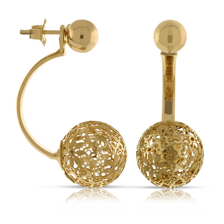 Filigree sphere round ball earrings